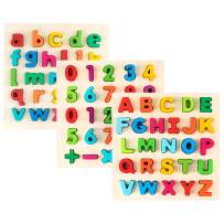 Toy To Enjoy Alphabet Puzzles - Wooden Upper Case, Lower Case Letters and Number Learning Board Toy - Ideal for Early Educational Learning for Kindergarten Toddlers & Preschools