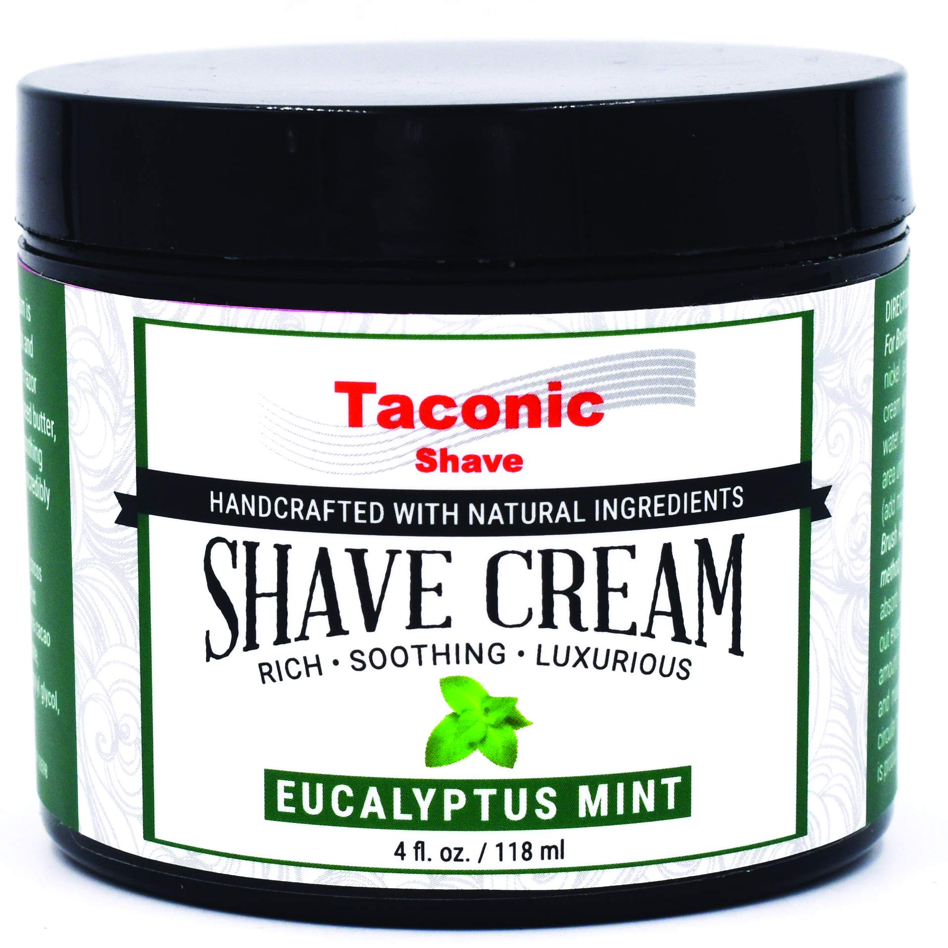 Taconic Shave EUCALYPTUS MINT Shaving Cream, Creates a Rich and Luxurious Lather - 4 oz.