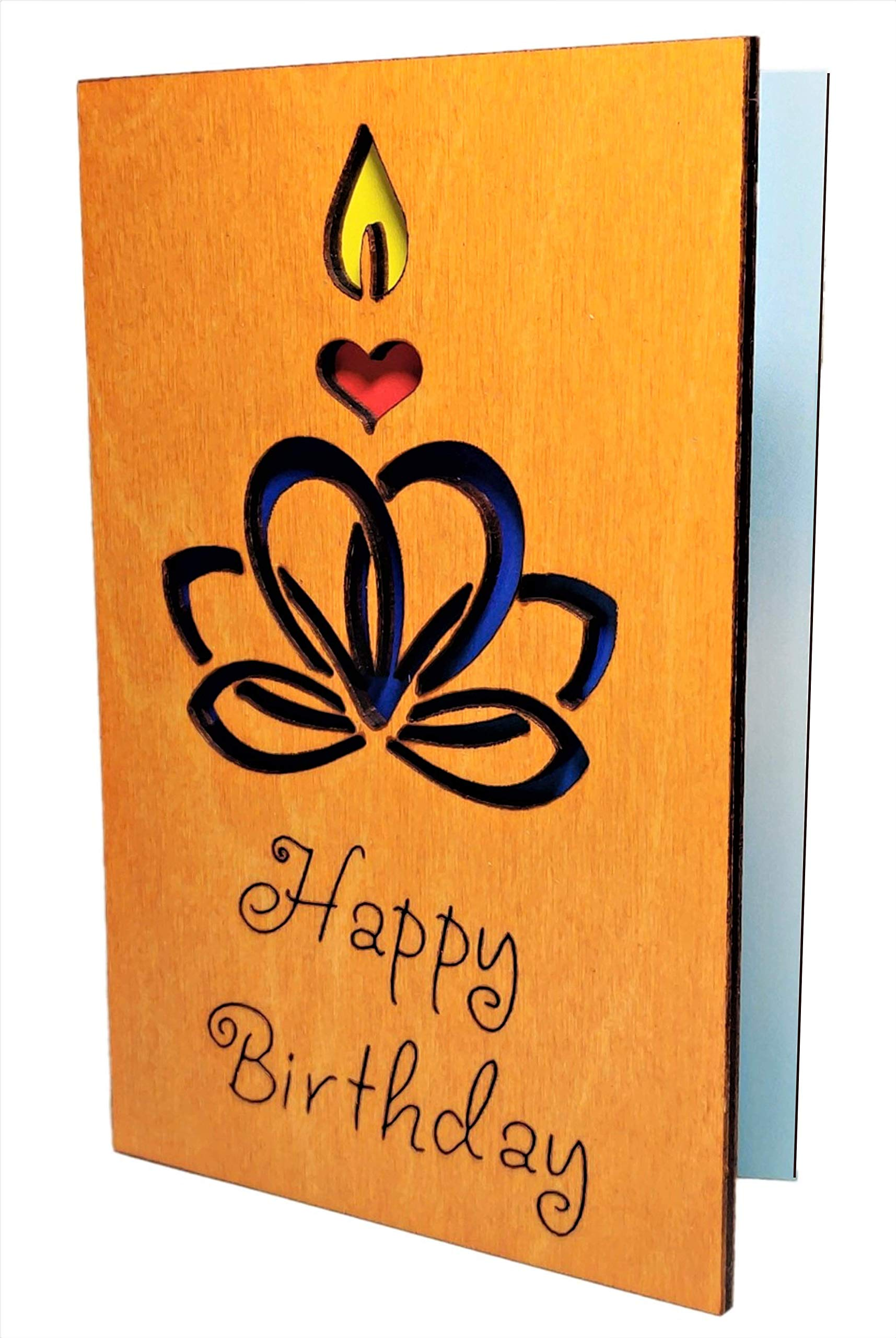 Real Wood Lotus Heart w Candle InspirationalMotivationalGreeting Card Best Happy Birthday Wooden GiftIdea Bday Wishes for Friend Teacher Sis Sister Bro Brother Grandma Grandpa Mom Dad Son Daughter