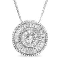 INSPIRED BY YOU. Rhodium Plated Sterling Silver Round and Baguette Cubic Zirconia Circle Necklace for Women with Triple Strand Cable Chain 20-24 Inches Long