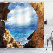"""Ambesonne Nautical Shower Curtain, Ocean View Through Cave Skyline with Clouds Waves Nautical Sea Marine Image Art, Cloth Fabric Bathroom Decor Set with Hooks, 70"""" Long, Blue Brown"""