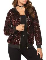 Chigant Women's Sequin Jacket Long Sleeve Zipper Front Jackets Sparkle Bomber Coat With Pockets