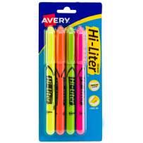 Avery Hi-Liter Pen-Style Highlighters, Smear Safe Ink, Chisel Tip, 4 Assorted Color Highlighters (23545)