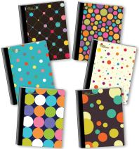 NEW GENERATION – Polka - Fashion Composition Notebooks, 6 Pack Note Books -Journals, 80 Sheets / 160 Pages Wide Ruled Durable Laminated Covers with Assorted Eye-Catching Cute Designs