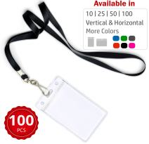 Durably Woven Lanyards & Vertical ID Badge Holders ~Premium Quality, Waterproof & Dustproof ~ for Moms, Teachers, Tours, Events, Businesses, Cruises & More (100 Pack, Black) by Stationery King