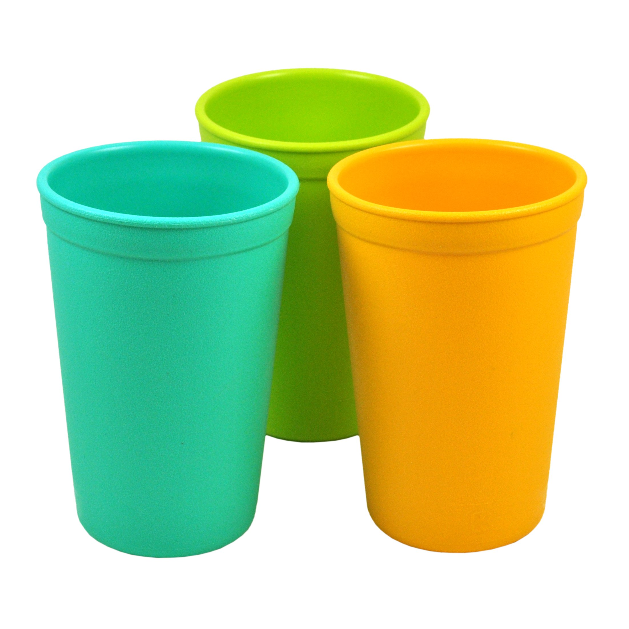 Re-Play 3pk - 9oz. Drinking Cups   Made in USA from Eco Friendly Heavyweight Recycled Milk Jugs - Virtually Indestructible   for All Ages   Aqua, Lime Green, Sunny Yellow   Aqua Asst.