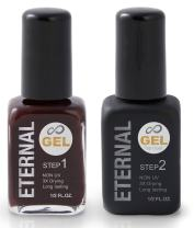Eternal Gel Nail Polish Kit - Color and Clear Top Coat Gel, No UV Lamp Required (Madley Mahogany)