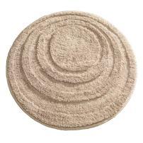 "iDesign Spa Microfiber Round Accent Shower Rug, Bath Mat for Master, Guest, Kids' Bathroom, Entryway, 24"" x 24"" - Beige"