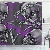 "Ambesonne Skull Shower Curtain, Scary Creepy Spooky Happy Smiling Skeleton with Boned Hand Artwork Print, Cloth Fabric Bathroom Decor Set with Hooks, 84"" Long Extra, Purple Grey"