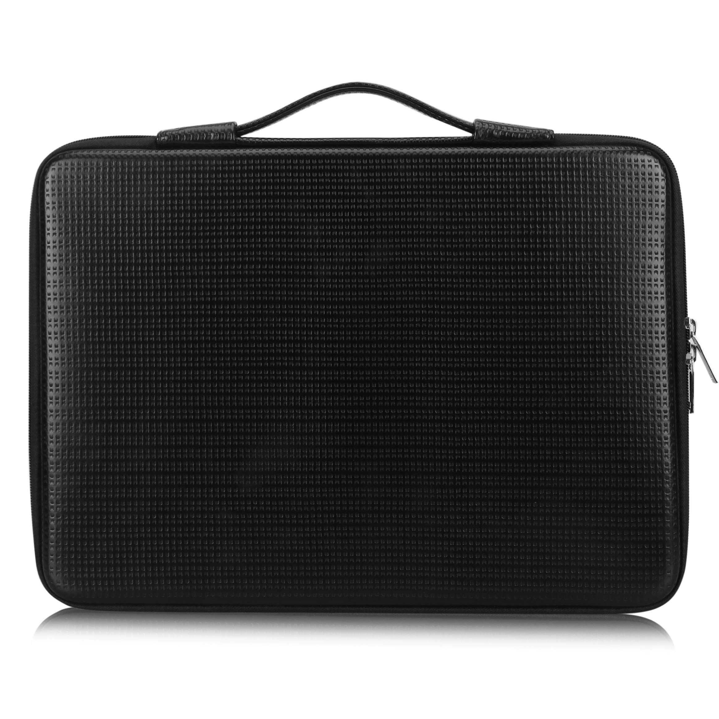 """FYY 12""""-13.3"""" [Waterproof Leather] [Solid Hard Shape] Laptop Sleeve Bag Case with Inner Tuck Net Fits All 12-13.3 Inches Laptops, Notebook, MacBook Air/Pro, Tablet, iPad Black"""