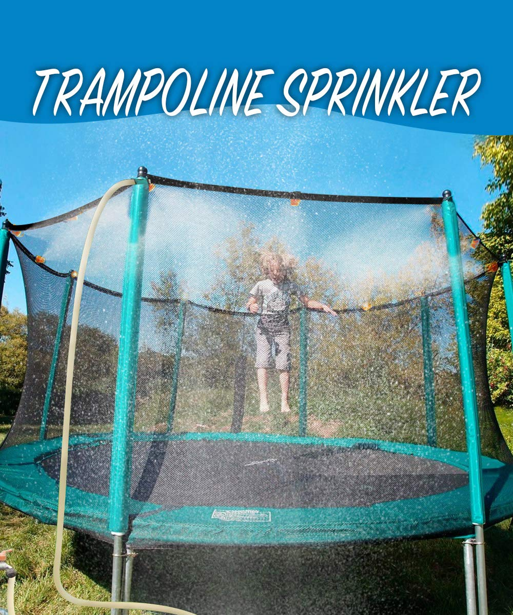 MeiGuiSha 50 ft Trampoline Backyard Sprinklers Spray Water Park Fun Summer Cool Things Outdoor Toys Water Game Trampoline Accessories Ladder ,Made to Attach on Trampoline Safety Net Enclosure