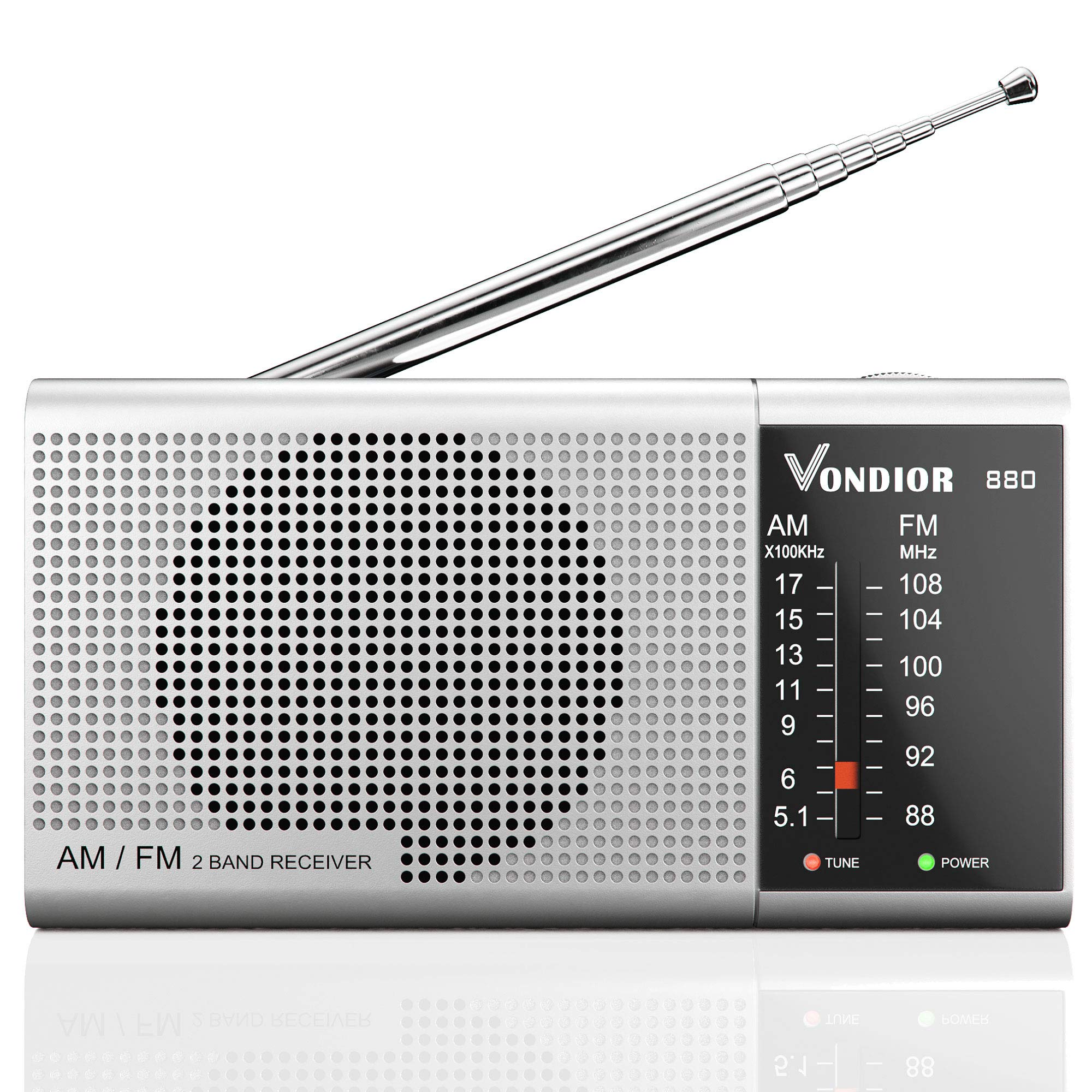 AM FM Transistor Radio - Best Reception and Longest Lasting. AM FM Portable Radio Player Operated by 2 AA Battery, Mono Headphone Socket, by Vondior (Silver)