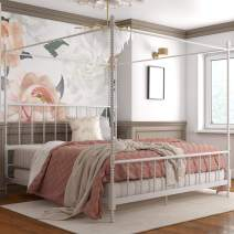 DHP Jenny Lind Metal Bed, 4 Post King Size Frame, White Canopy