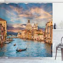 "Ambesonne Venice Shower Curtain, Gondola on Famous Canal Grande with Water View in The Evening Italian City Image Print, Cloth Fabric Bathroom Decor Set with Hooks, 84"" Long Extra, Cream Blue"