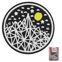 Stick Figure Mountain Full Moon Iron On Embroidered Patches Sewing Badge Applique for Clothes Jacket Jeans Cap
