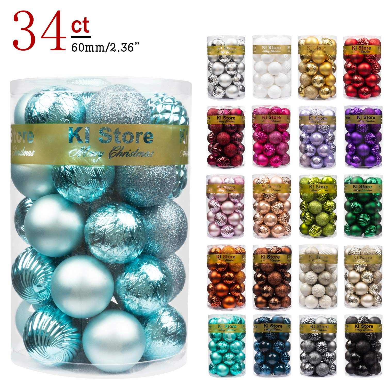 "KI Store 34ct Christmas Ball Ornaments Shatterproof Christmas Decorations Tree Balls for Holiday Wedding Party Decoration, Tree Ornaments Hooks Included 2.36"" (60mm Baby Blue)"