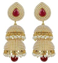 Royal Bling Traditional Indian Jewelry Pearl Jhumka Jhumki Earrings for Women/Girls