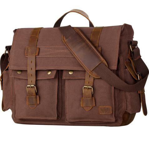 Wowbox 17.3 Inch Men's Messenger Bag Vintage Canvas Leather Satchel Laptop Bags Bookbag Working Bag for Men and Women Coffee
