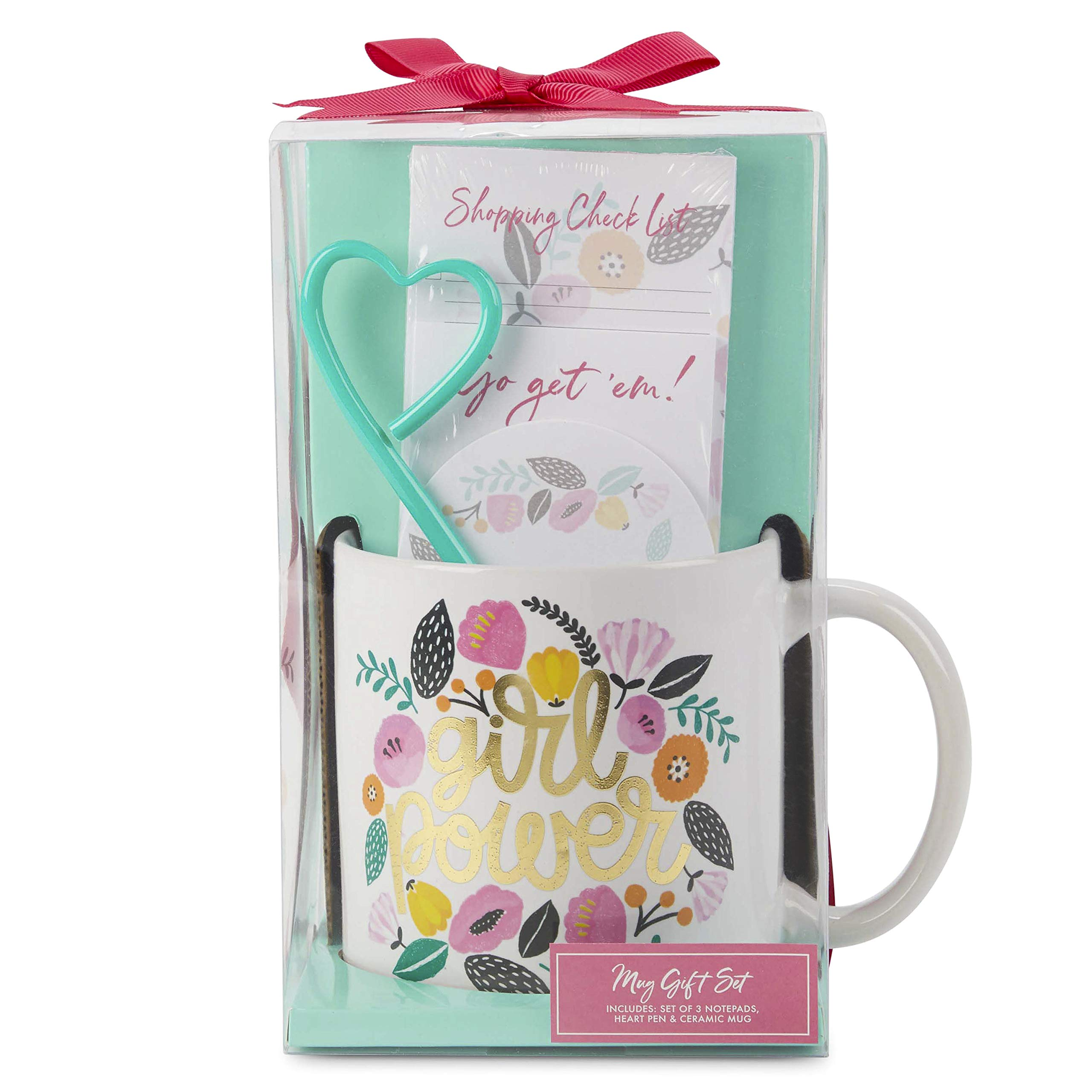 Charming Charlie Mug and Stationery Gift Set - 3 Assorted Notepads, Heart-Shaped Pen, Ceramic Cup - Pack of 5