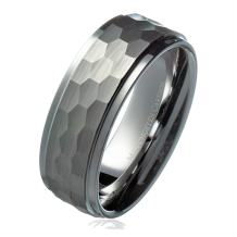 MJ Metals Jewelry 8mm Hammered Stepped Edges Tungsten Carbide Men's Band Wedding Ring