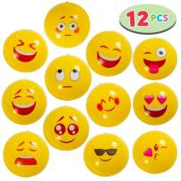 """JOYIN Emoji Beach Balls 12 Pcs Combo Set in 12"""" with 12 Different Emoji Designs, Inflatable Balls for Summer Pool Party Toys, Beach Party Decoration"""