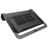 """CoolerMaster Notepal U2 Plus V2 Laptop Air Cooler, Dual 80mm Moveable Fans, Lightweight Aluminum Cooling Pad, Polyester Fiber Dacron and Aluminum Material, Supports up to 17"""" Laptop"""