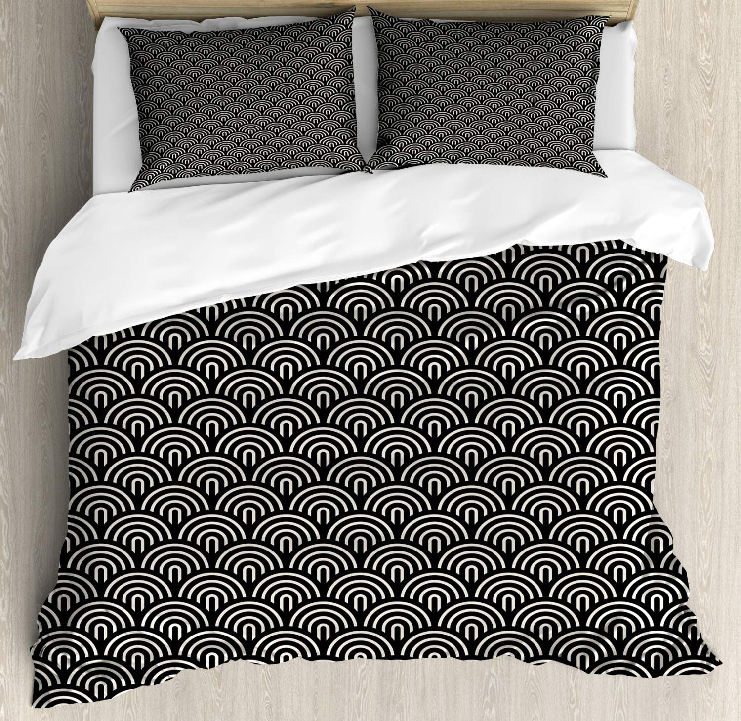 Ambesonne Scale Duvet Cover Set Overlapping Half Circle Arcs Modern Art Deco Style Geometric Composition Decorative 3 Piece Bedding Set With 2 Pillow Shams King Size Cream Charcoal