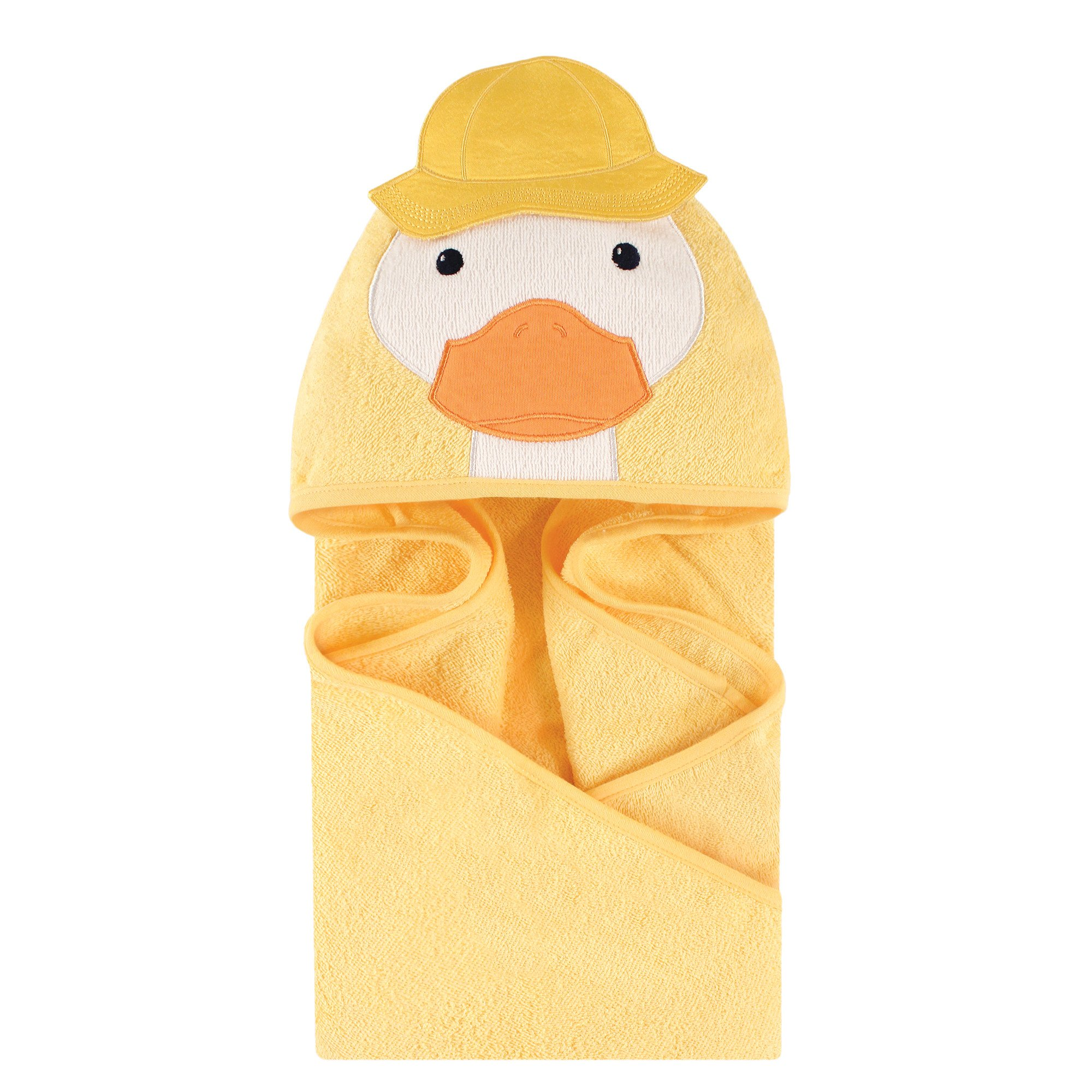 Little Treasure Unisex Baby Cotton Animal Face Hooded Towel, Duck, One Size
