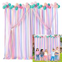Rainbow Tulle Backdrop Curtains for Parties Baby Shower Unicorn Birthday Party Photography Unicorn Drape Backdrop 5ft x7ft,Pack of 2