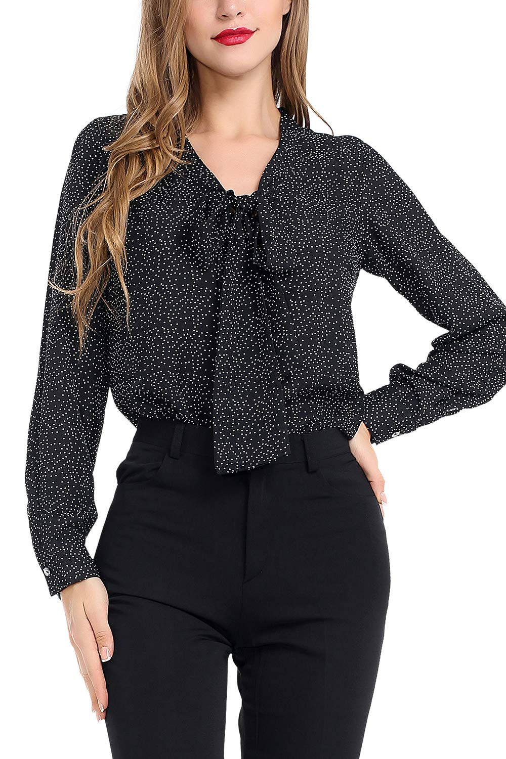 AUQCO Women's Chiffon Blouse Business Button Down Shirt for Work Casual with Long Sleeve/Sleeveless Black
