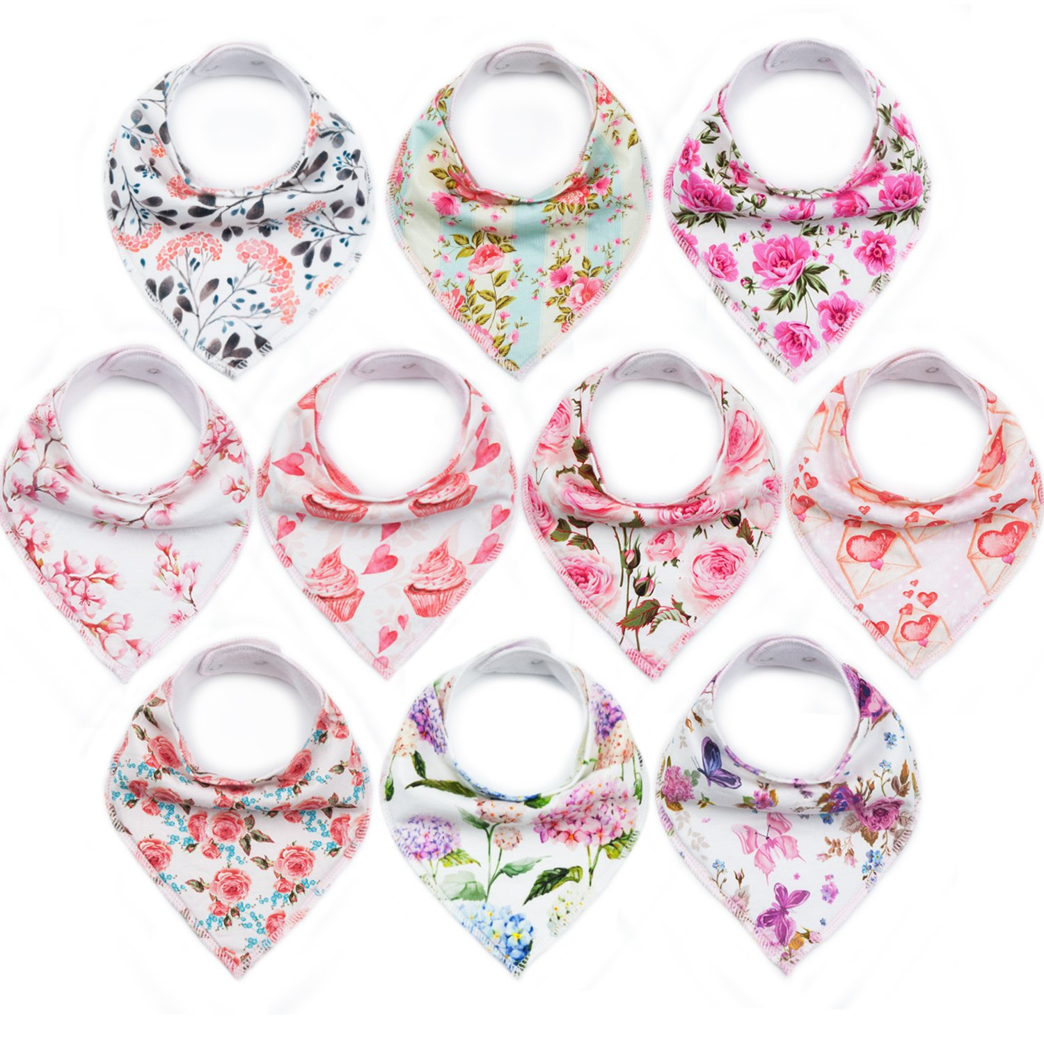 10-Pack Baby Bandana Bibs Upsimples Baby Girl Bibs for Drooling and Teething, Super Absorbent Bibs Baby Shower Gift - Blossom Set