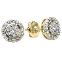 Dazzlingrock Collection 0.40 Carat (ctw) Round White Diamond Ladies Cluster Earrings Look of 1 CT each