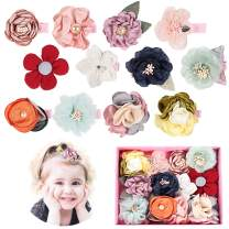 Baby Girls Hair Clips with Flower Bow,Boutique Fully Lined Alligator Accessories with Gift Box for Infant Toddler