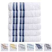 Great Bay Home 6-Piece Hand Towel Set. 100% Cotton Popcorn Textured Striped Bathroom Towels. Quick Dry and Absorbent Towels. Elham Collection (6 Pack, Navy)