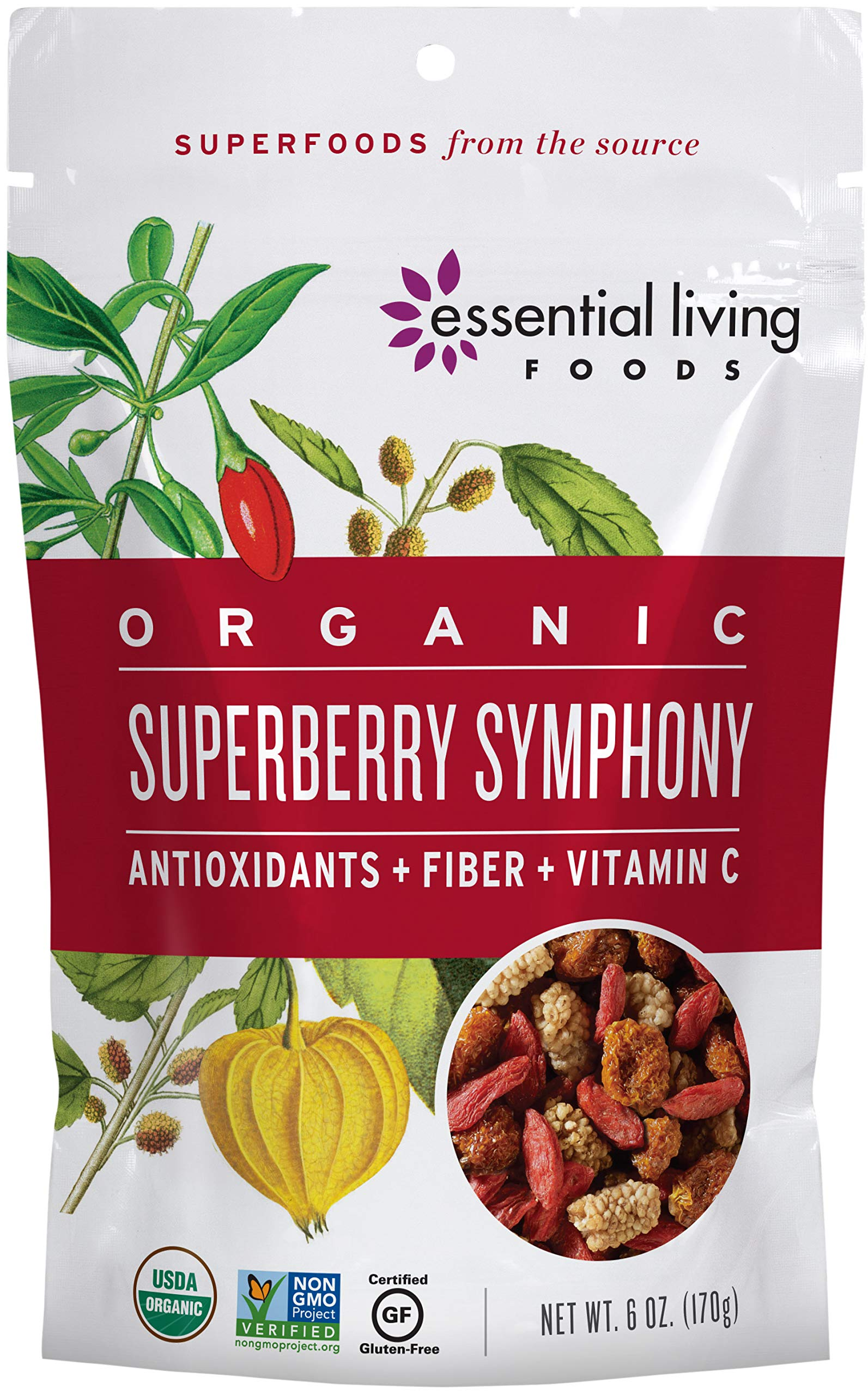 Essential Living Foods Organic Super Berry Symphony Trail Mix, Mulberries, Goji Berries, Goldenberries, Maqui Berries, Vegan, Superfood, Non-GMO, Gluten Free, Hiking Fuel, 6 Ounce Resealable Bag