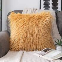 Phantoscope Luxury Series Throw Pillow Covers Faux Fur Mongolian Style Plush Cushion Case for Couch Bed and Chair, Ginger, 18 x 18 inches, 45 x 45 cm