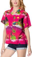 LA LEELA Womens Hawaiian Blouse Shirt Relaxed Fit Tropical Beach Shirt Printed B