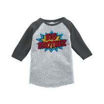 7 ate 9 Apparel Boy's Big Brother Grey Baseball Tee