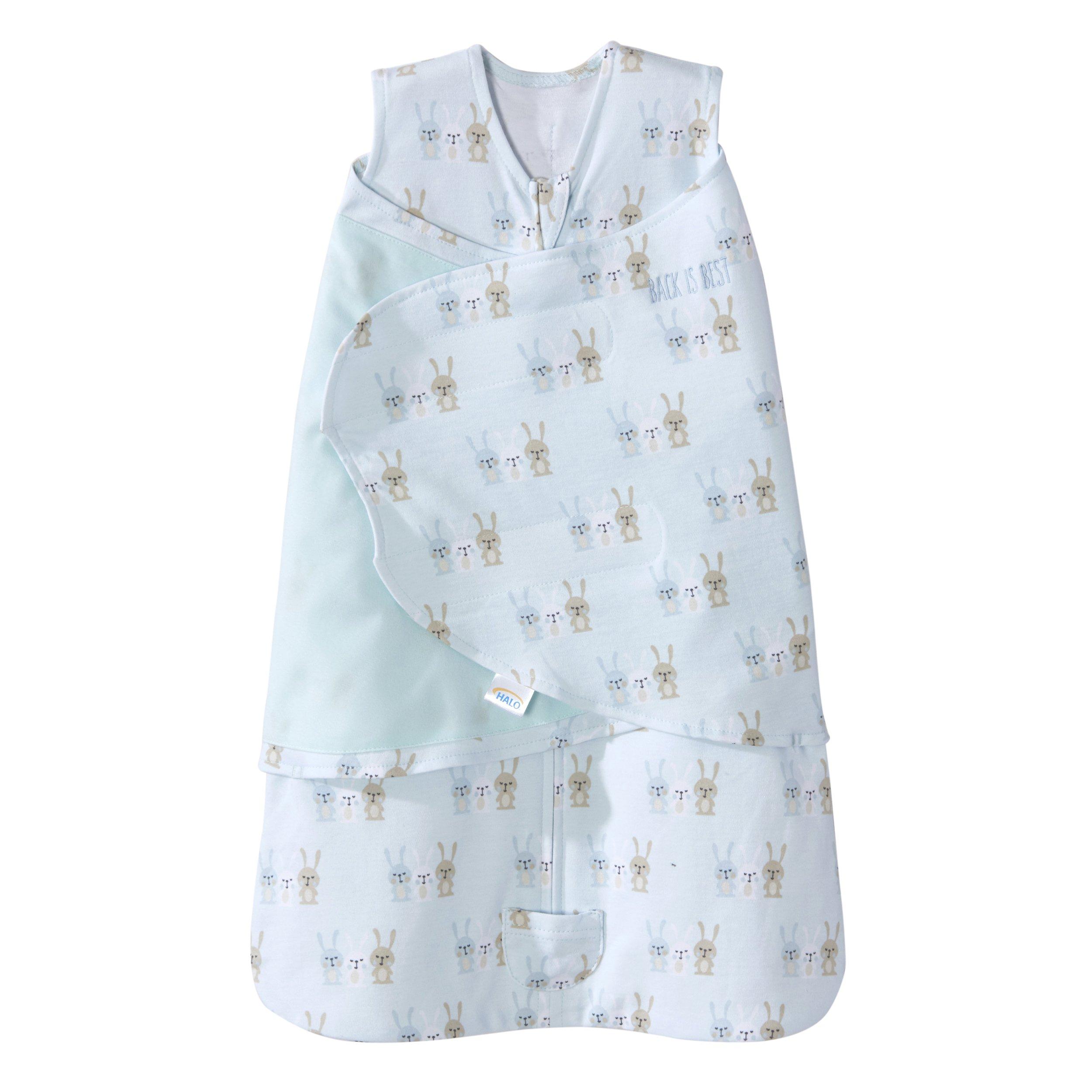 HALO Sleepsack Swaddle Cotton 3 Bunnies Baby Blue, Size NB