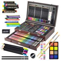 Sunnyglade 145 Piece Deluxe Art Set, Wooden Art Box & Drawing Kit with Crayons, Oil Pastels, Colored Pencils, Watercolor Cakes, Sketch Pencils, Paint Brush, Sharpener, Eraser, Color Chart