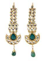Touchstone Indian Bollywood Faux Emerald Kundan Look Long Chandelier Designer Jewelry Earrings for Women