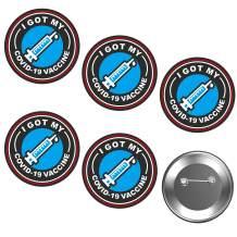 Labato I Got My Vaccine - Vaccine Pins Button Badge, 5-Pack Vaccine Recipient Round Pins Encouraged Public Health Notifacation Badge