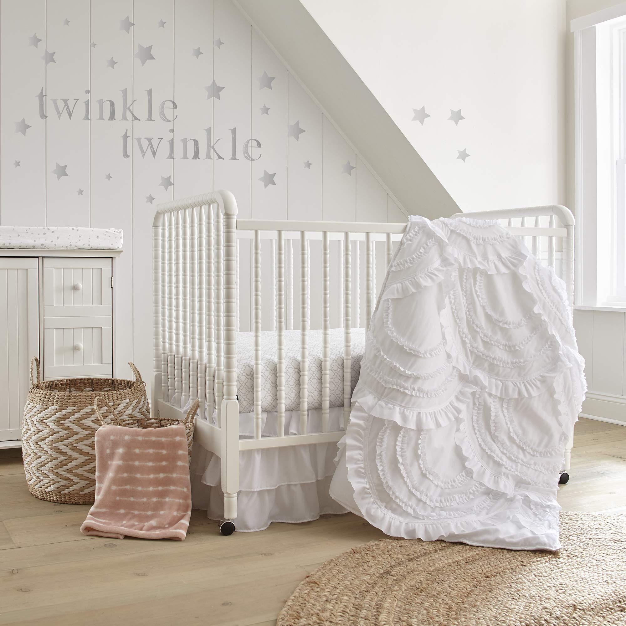 Levtex Baby Skylar 4pc Set, White, 4Pc Crib Bedding Set