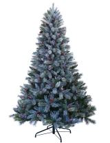 ABUSA Christmas Trees 9 ft Prelit Snowy Everest Needles Pine Cones and Berries Xmas Tree with 1000 LED Lights 2300 Branch Tips