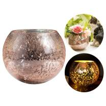 Diamond Star Mercury Glass Vase Ice Cracked Glass Candle Holder Home Decorative Round Flower Vase Wedding Table Centerpieces (Large)