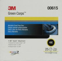 3M Green Corps Hookit Disc Dust Free, 00615, 6 in, 40, 25 discs per carton