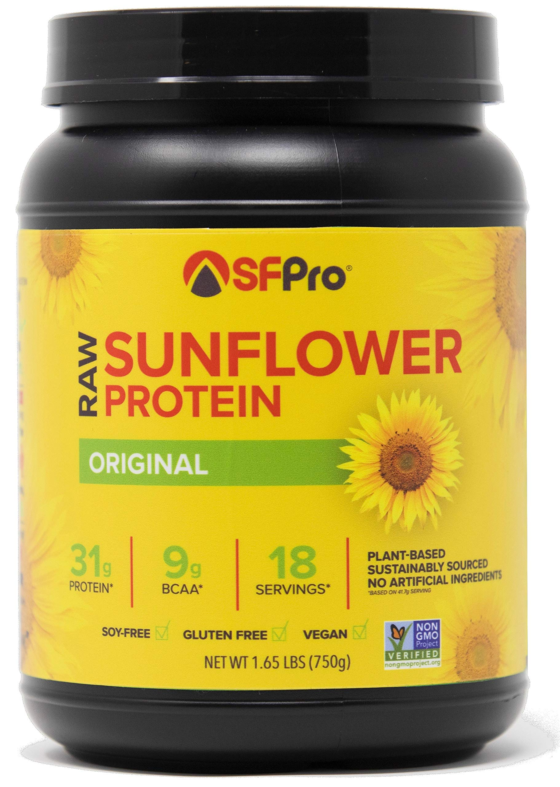 Plant Based Vegan Protein Powder by SFPro (Original) | Premium Sunflower Protein, Single Source | High BCAAs, Balanced Amino Acids, All Natural | 1.65lbs