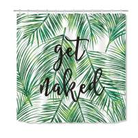 LB Green Tropical Coconut Palm Leaf Shower Curtain with Hooks,Black Font Get Naked Funny Bathroom Curtains 72x78 inch Waterproof Polyester Fabric