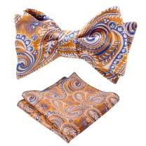Alizeal Mens Solid Color Floral Jacquard Bow Tie and Hanky Set