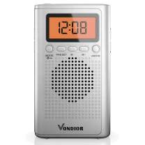 AM FM Battery Radio - Best Reception and Longest Lasting. AM FM Compact Radio Player Operated by 2 AAA Battery, Stereo Headphone Pocket (Silver, Orange), by Vondior